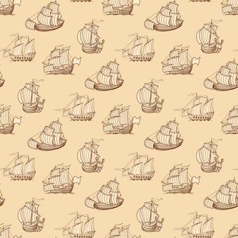 ビンテージ船のシームレスなパターン。