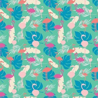 Яркое тропическое лето бесшовные модели с фламинго и растениями