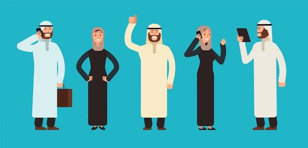 アラビアのビジネスウーマンとビジネスマンのグループ。