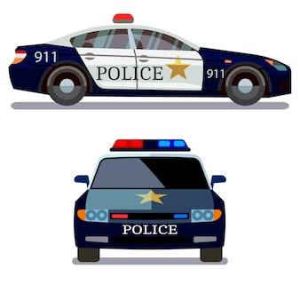 白い背景に警察の車