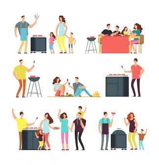 バーベキューピクニックで人々を休みます。アクティブな家族と屋外で遊ぶ子供たち。分離された漫画ベクトル文字