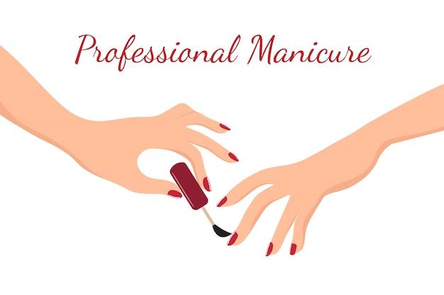 赤いマニキュアでマニキュアをしている若い女の子の手。美容、ボディケア、ネイルサロンのベクトルの概念