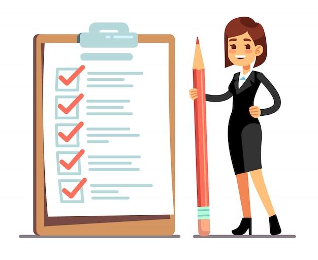 目盛り付きの巨大なスケジュールチェックリストで鉛筆を保持している幸せな女。事業組織と目標の達成ベクトルの概念