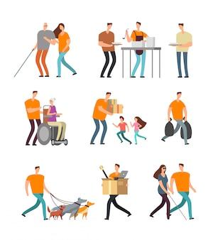 Молодые волонтеры помогают инвалидам и старикам. волонтер гуляет с собакой, присматривает за детьми и помогает. набор векторных символов