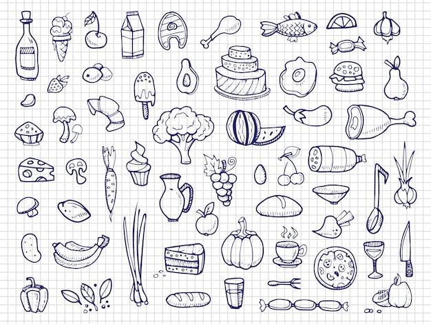 手描きの食べ物、野菜、飲み物、スナック、ファーストフードの落書き