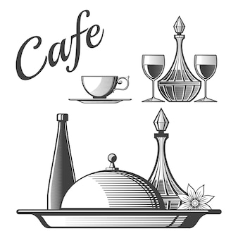 レストランの要素-カップ、ワイングラス、料理