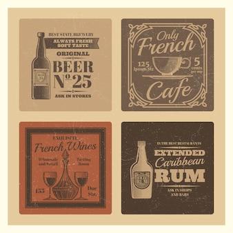 カフェ、バー、レストランのビンテージベクトルデザイン