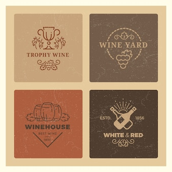 Гранж винный логотип набор. винтажные хипстерские винные векторные эмблемы