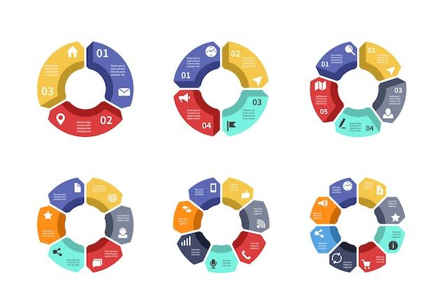 サークルインフォグラフィック、グラフ、図、プロセスワークフローテンプレート。オプション、部品、手順を含むビジネスプレゼンテーション