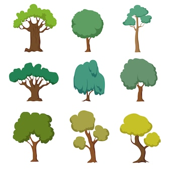 漫画の緑の木々