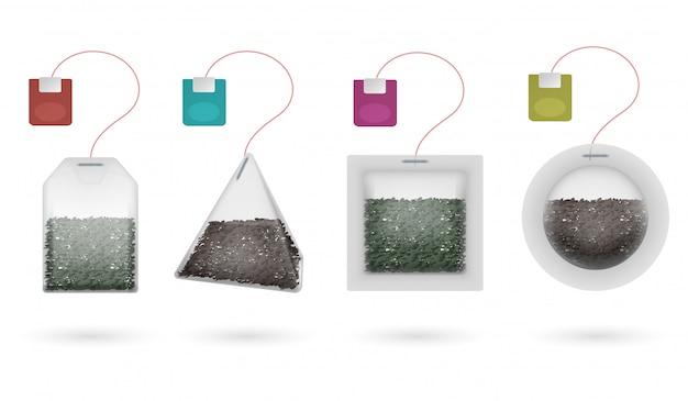 Чай в пакетиках с набором для заваривания черного и зеленого чая