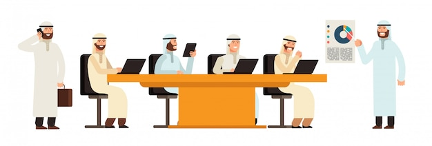 ビジネス会議のテーブルでアラブの実業家グループ。