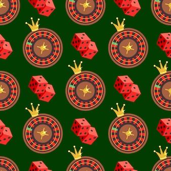 Казино и покер бесшовные узор с кубиками и рулеткой на зеленом