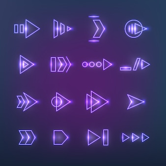 方向ネオンホログラフィック矢印。