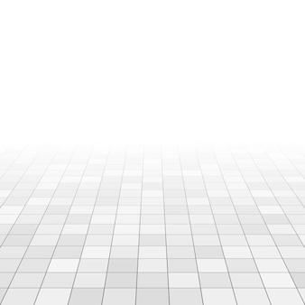 バスルームの床に白とグレーの大理石のタイル