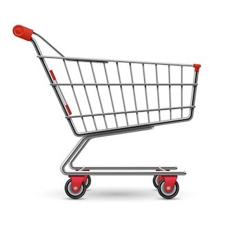 白で隔離される現実的な空のスーパーマーケットショッピングカート
