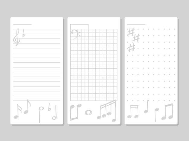 音楽的要素を持つノートのページ