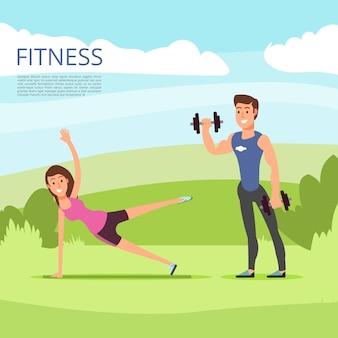 男性と女性のキャラクターによる野外の屋外スポーツまたはフィットネストレーニング