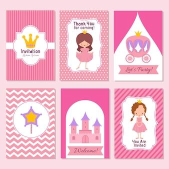 Ребенок с днем рождения и принцесса вечеринка розовый шаблон приглашения