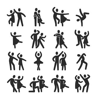 Счастливые танцующие люди иконки. символы силуэта современного танцевального класса