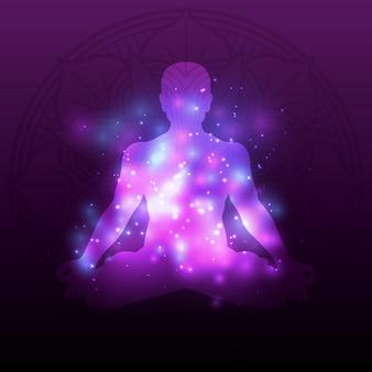 光沢のある効果を持つバイオレット瞑想シルエットマンダラ