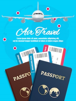 Воздушный баннер с паспортом и билетами на самолет