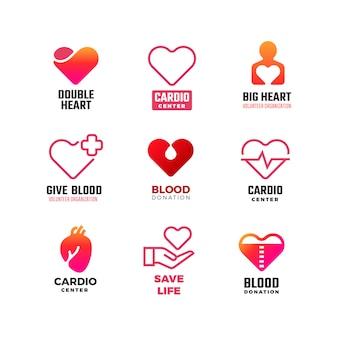 Кардиология и донорство крови медицинские логотипы