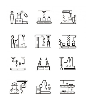 Роботизированные производственные сборочные линии и автоматический конвейер с иконками линии манипуляторов