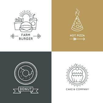 ファーストフードのレストランとカフェのロゴは直線的なスタイルに設定