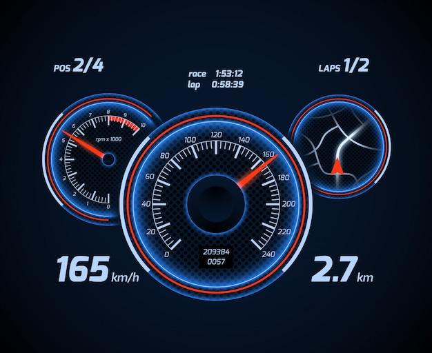 レーシングカーのコンピューターとアプリのスマートフォンゲームダッシュボードインターフェース