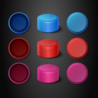 Набор разноцветных пластиковых бутылочных крышек