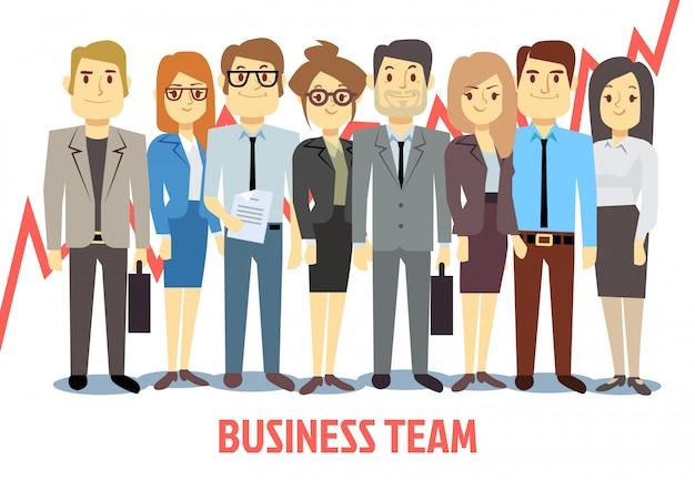 男と女が一緒に立っているビジネスチームコンセプト。チームワーク漫画