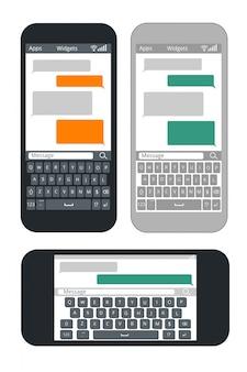 空白のテキストメッセージバブルとキーボードテンプレートを持つスマートフォン