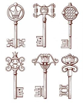Ретро старые ключи в стиле рисованной
