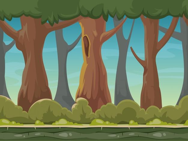 漫画のシームレスな森の背景