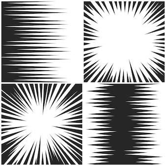 水平および放射状の速度線コレクション