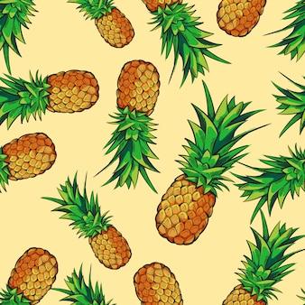 パイナップルとシームレスな熱帯パターン
