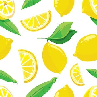 Лимонные ломтики цитрусовых бесшовный фон