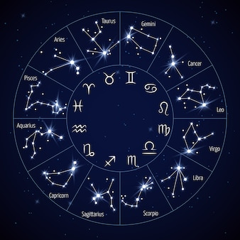 Карта созвездия зодиака с символами льва дева скорпиона