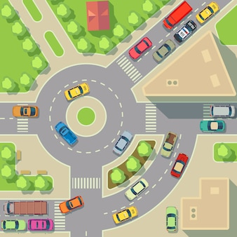 トップビューの車と家の市内地図