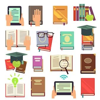 Библиотека, набор для чтения книг в плоском стиле