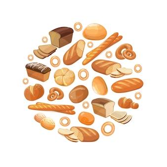 食品パンライ麦小麦全粒粉ベーグルスライスしたフランスのバゲットクロワッサンアイコンサークルで