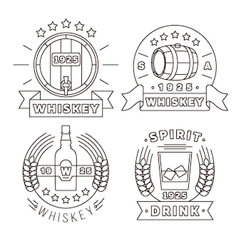 Виски логотип установлен в стиле тонкой линии. алкогольные напитки современные этикетки для паба и бара