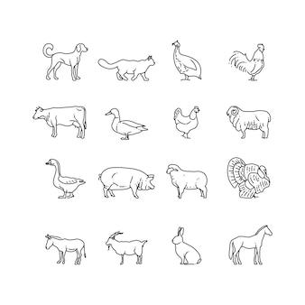農場の動物の細い線のアイコンを設定します。牛、豚、鶏、馬、ウサギ、ヤギ、ロバ、羊、ガチョウのシンボルの概要