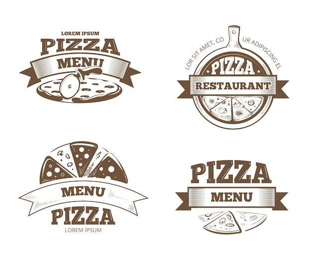 ピザメニューレストランラベル、ロゴ、バッジ、エンブレムセット