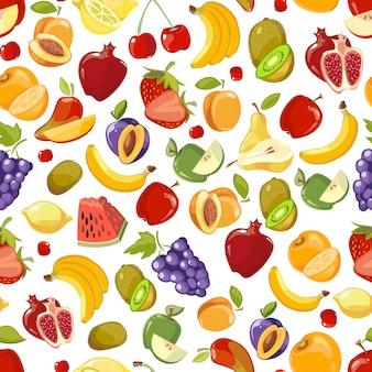 Бесшовный летний сочный фруктово-ягодный экзотический коктейль