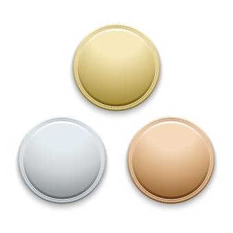 丸い空の洗練されたゴールド、シルバー、ブロンズ、メダル、コインテンプレート
