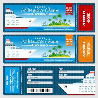 クルーズ船の搭乗券。新婚旅行の結婚式クルーズの招待状のテンプレート