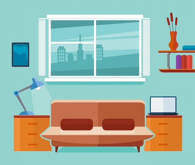 Интерьер домашнего офиса с диваном и ноутбуком. фрилансер на рабочем месте. плоская иллюстрация