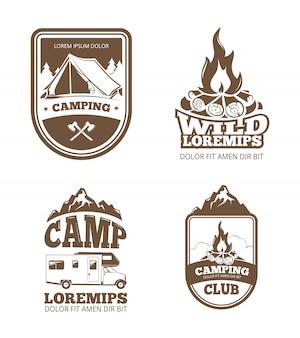 荒野と自然探検のビンテージラベル、エンブレム、ロゴ、バッジ
